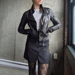 Mackage Black Leather Kenya Jacket Size XXS
